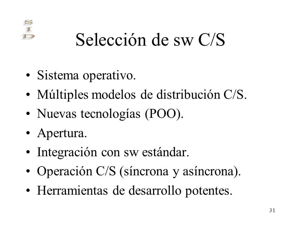 Selección de sw C/S Sistema operativo.