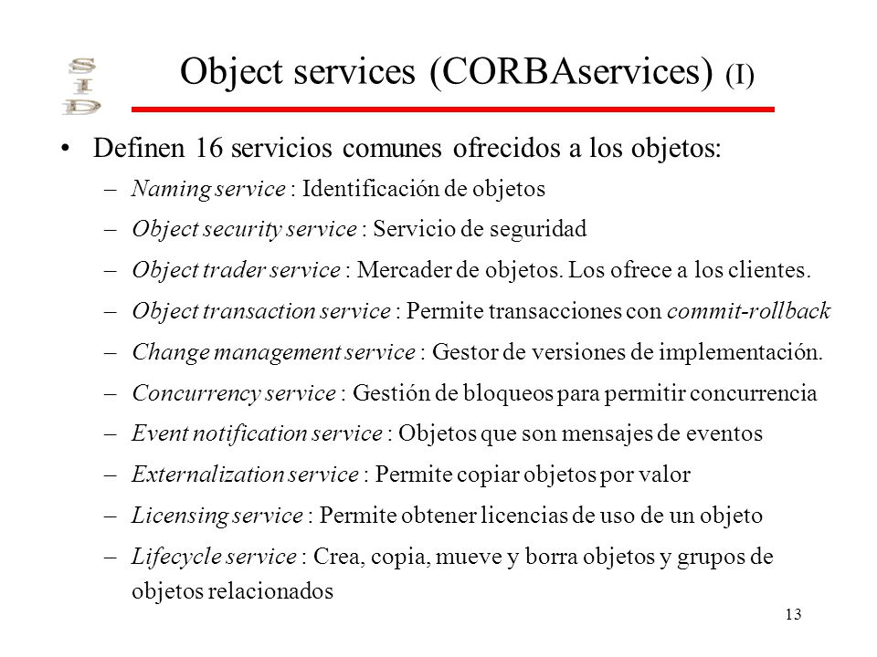Object services (CORBAservices) (I)
