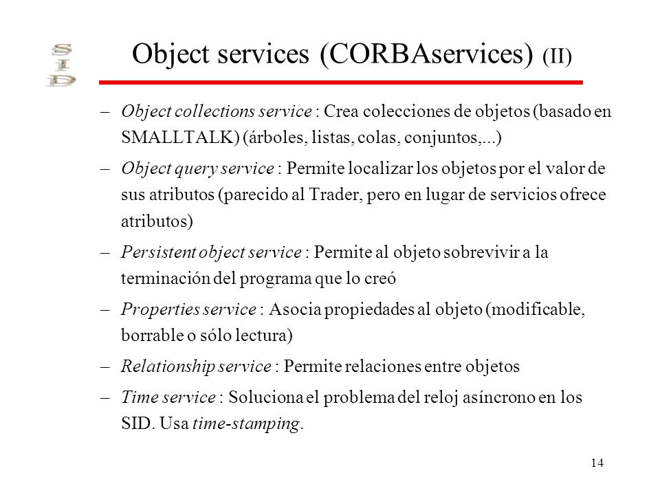 Object services (CORBAservices) (II)