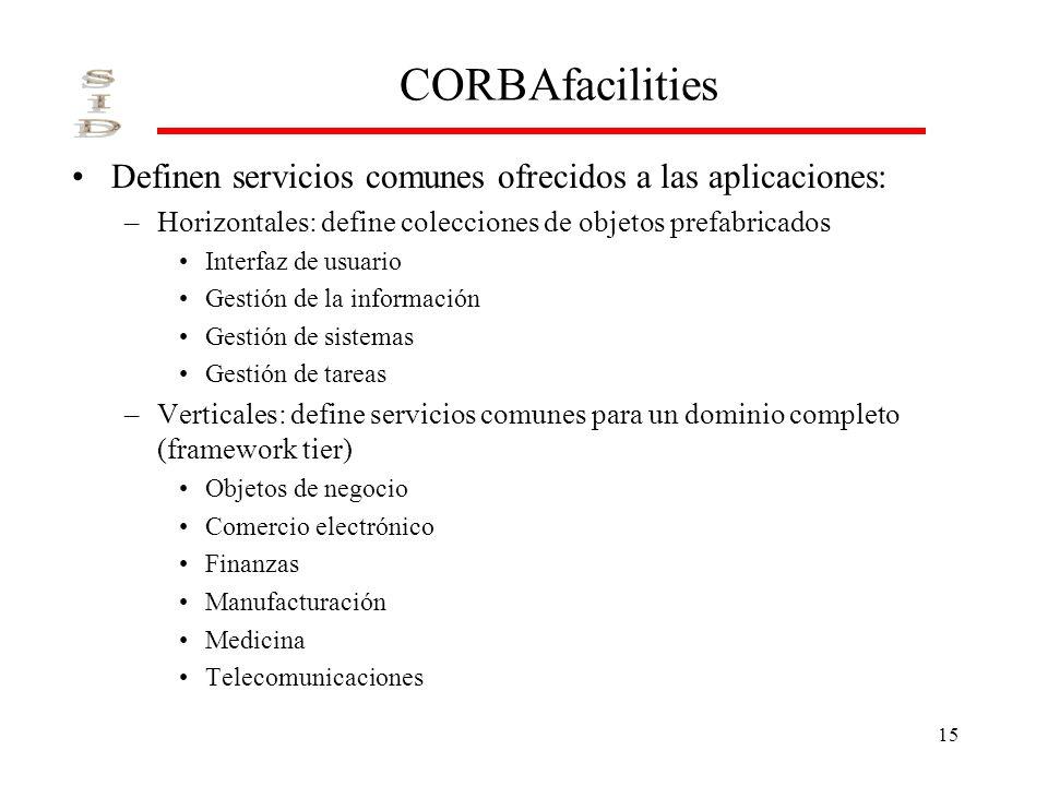 CORBAfacilities Definen servicios comunes ofrecidos a las aplicaciones: Horizontales: define colecciones de objetos prefabricados.