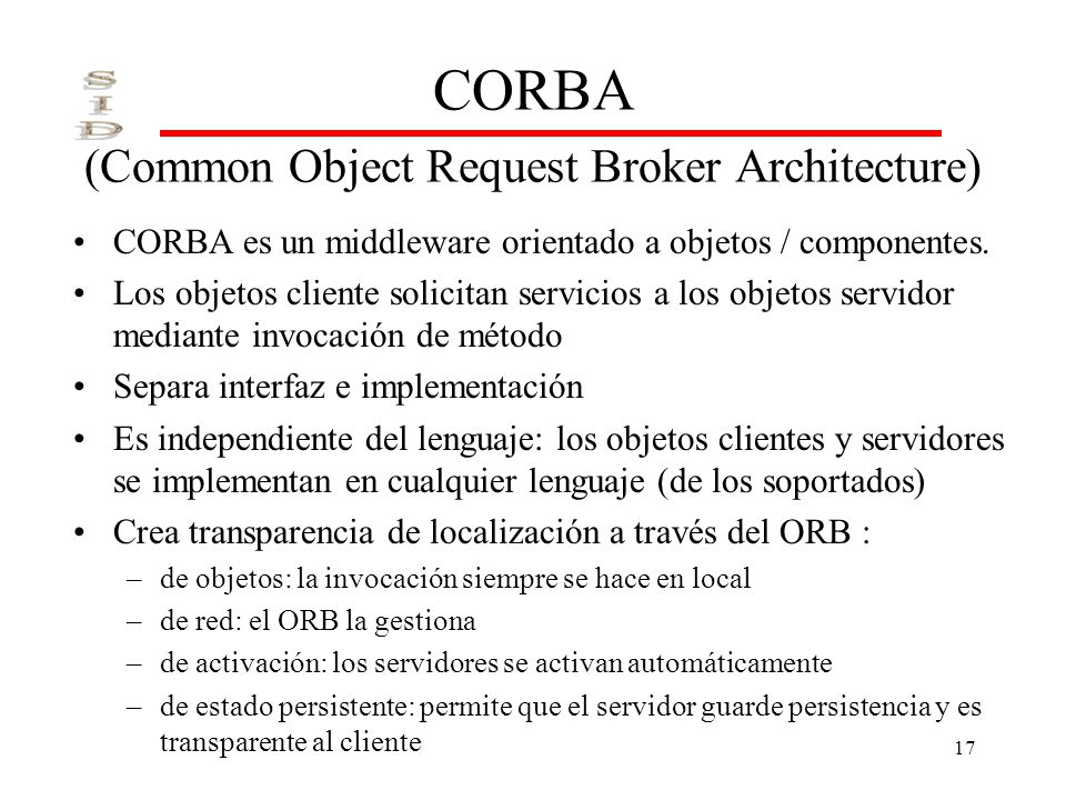 CORBA (Common Object Request Broker Architecture)