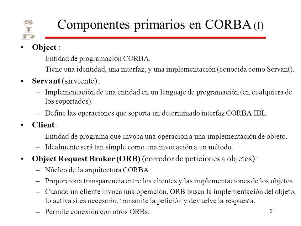 Componentes primarios en CORBA (I)