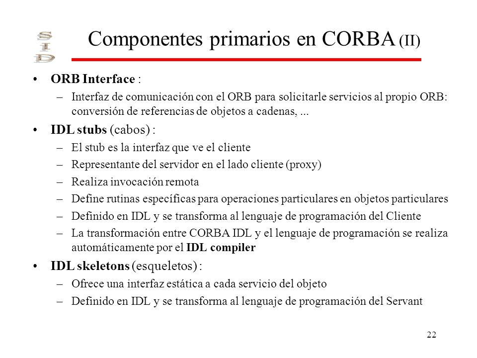 Componentes primarios en CORBA (II)