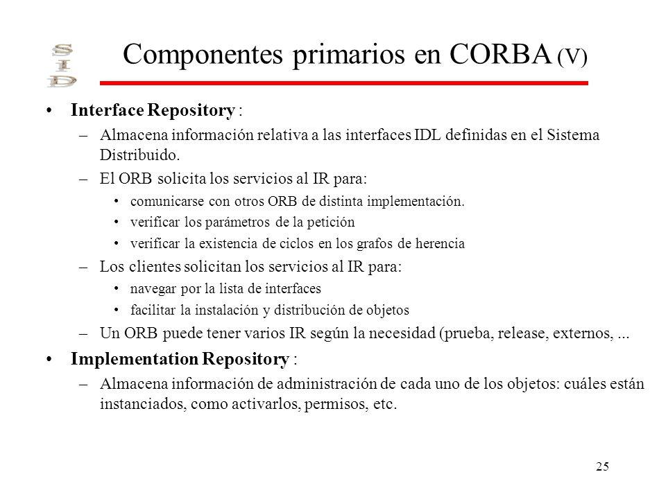 Componentes primarios en CORBA (V)