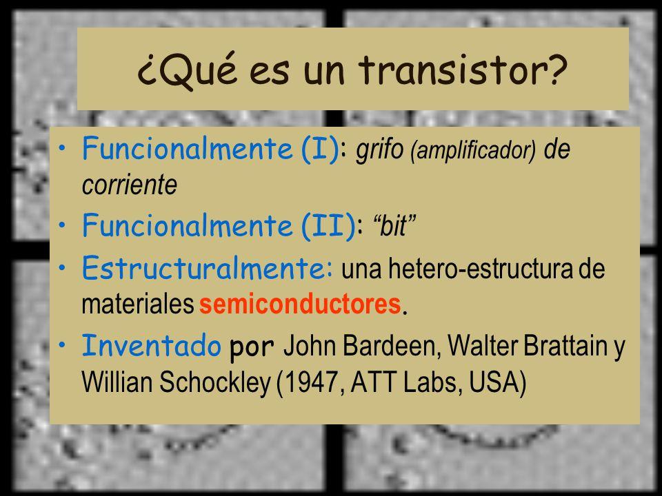 ¿Qué es un transistor Funcionalmente (I): grifo (amplificador) de corriente. Funcionalmente (II): bit