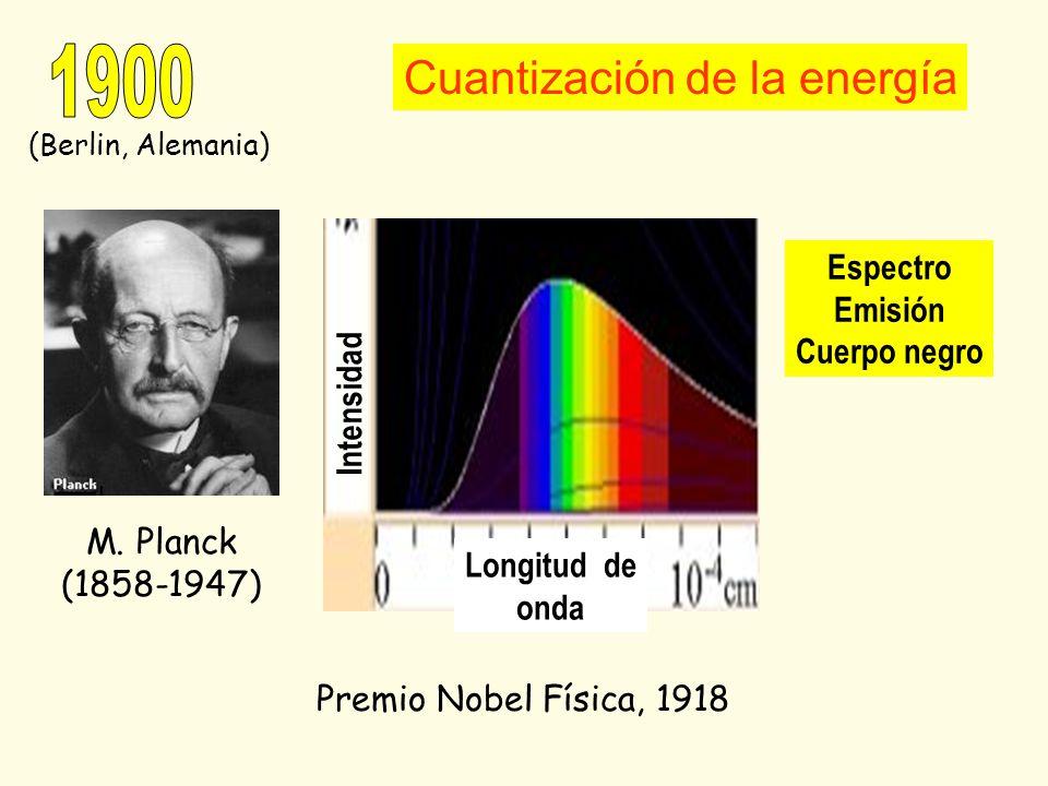 1900 Cuantización de la energía Espectro Emisión Cuerpo negro