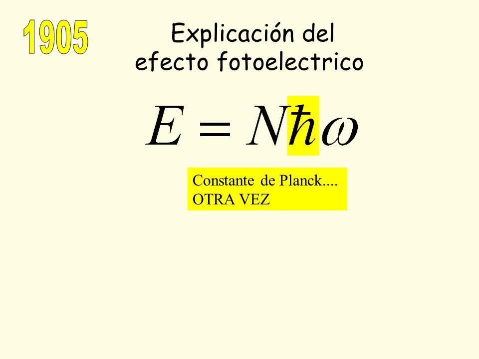 Explicación del 1905 efecto fotoelectrico Constante de Planck....