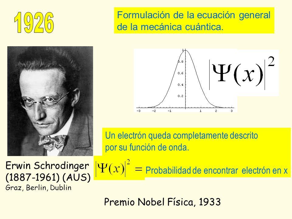 1926 Formulación de la ecuación general de la mecánica cuántica.