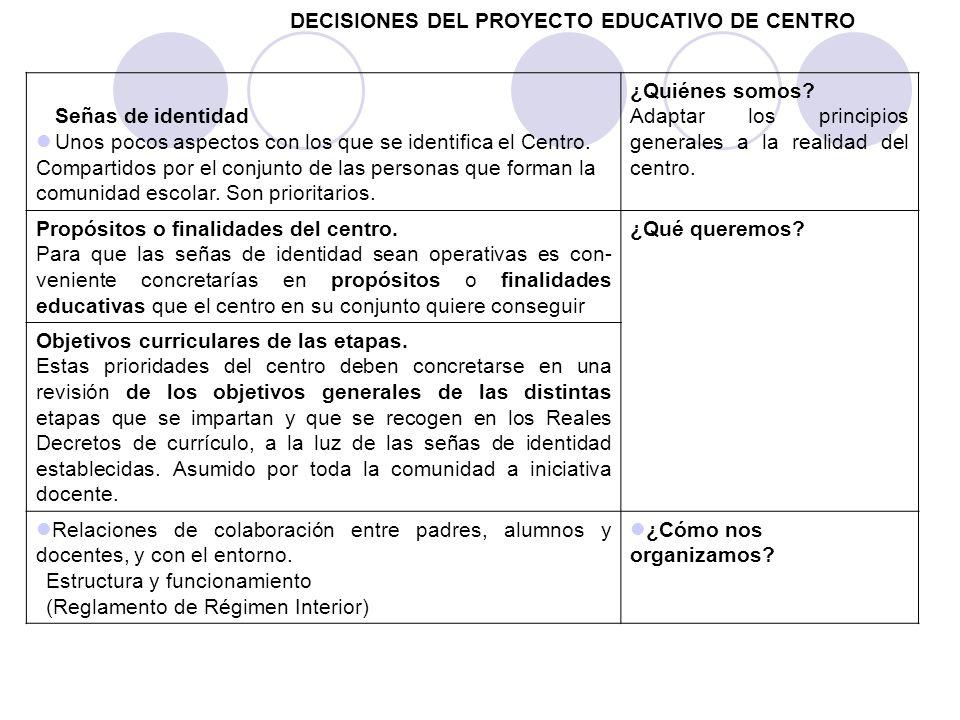 DECISIONES DEL PROYECTO EDUCATIVO DE CENTRO