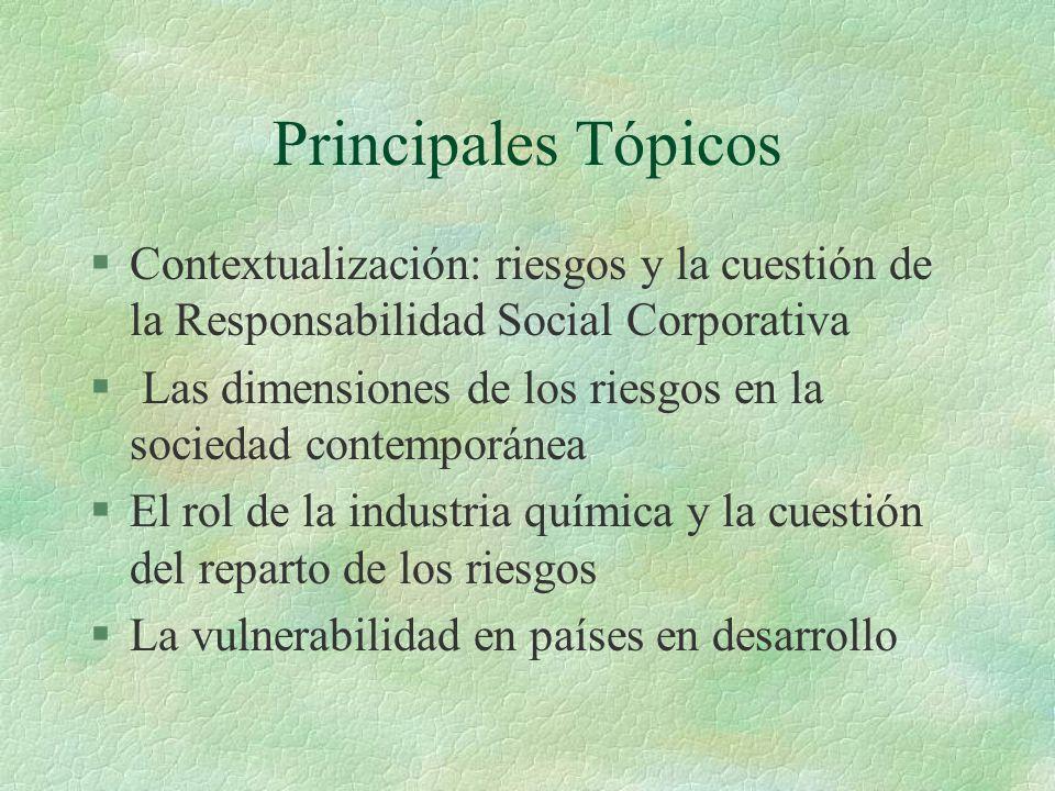 Principales Tópicos Contextualización: riesgos y la cuestión de la Responsabilidad Social Corporativa.