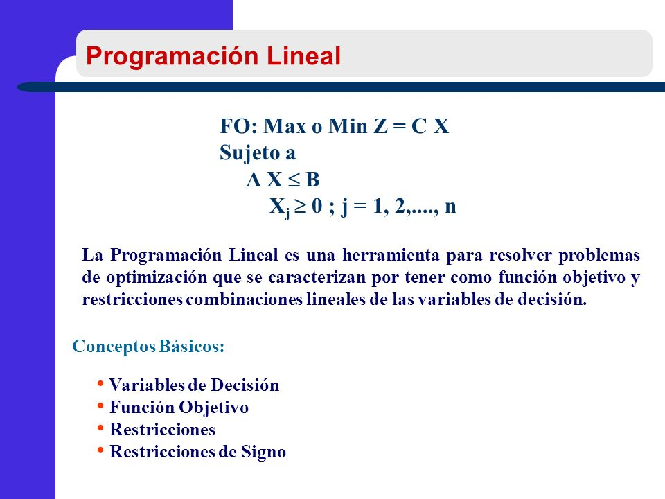 Programación Lineal FO: Max o Min Z = C X Sujeto a A X  B
