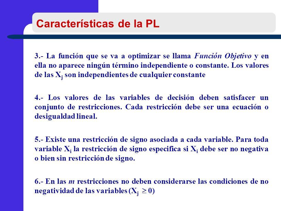 Características de la PL