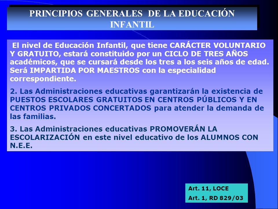PRINCIPIOS GENERALES DE LA EDUCACIÓN INFANTIL
