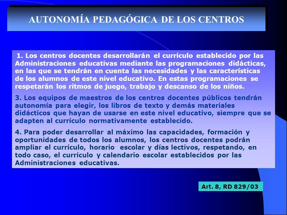 AUTONOMÍA PEDAGÓGICA DE LOS CENTROS