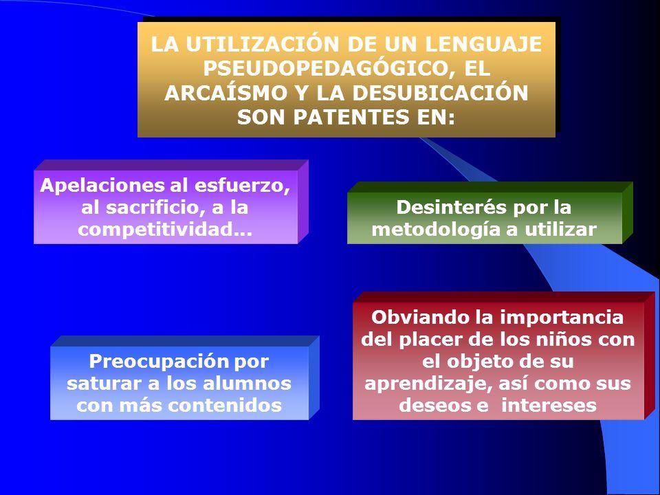 LA UTILIZACIÓN DE UN LENGUAJE PSEUDOPEDAGÓGICO, EL ARCAÍSMO Y LA DESUBICACIÓN SON PATENTES EN: