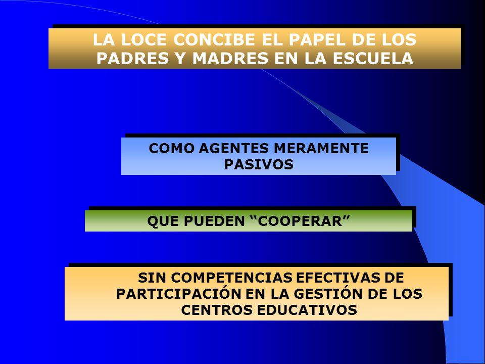 LA LOCE CONCIBE EL PAPEL DE LOS PADRES Y MADRES EN LA ESCUELA