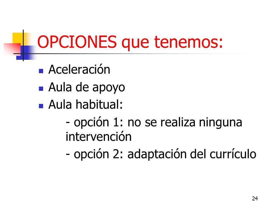 OPCIONES que tenemos: Aceleración Aula de apoyo Aula habitual: