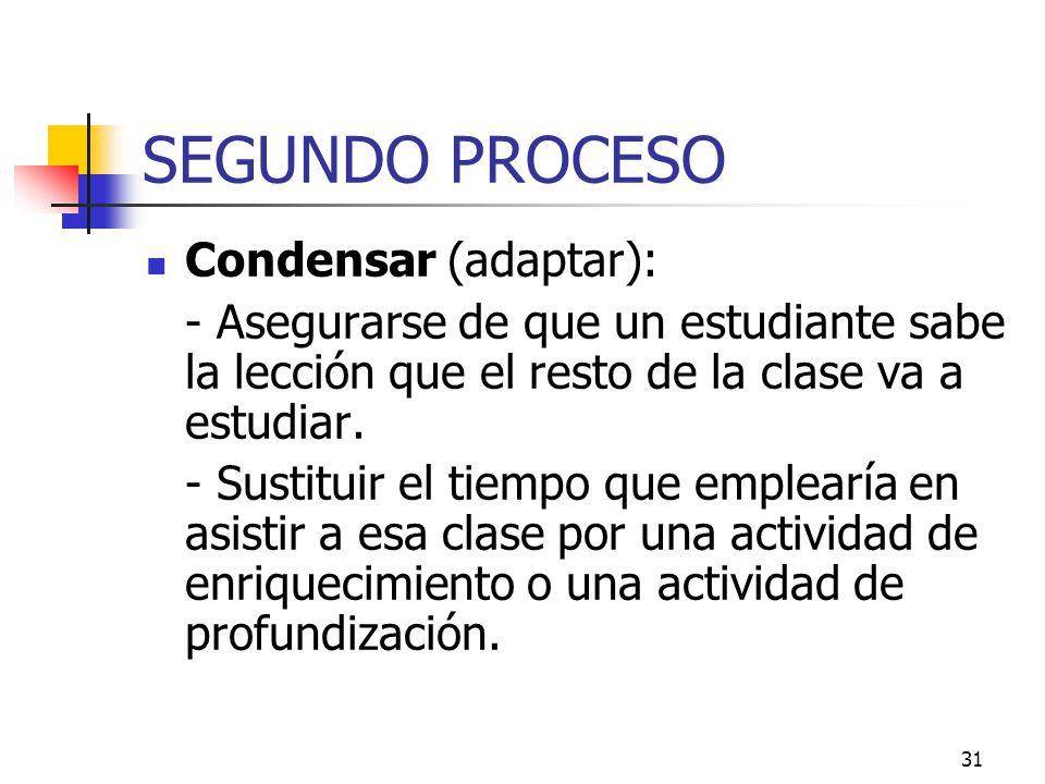 SEGUNDO PROCESO Condensar (adaptar):