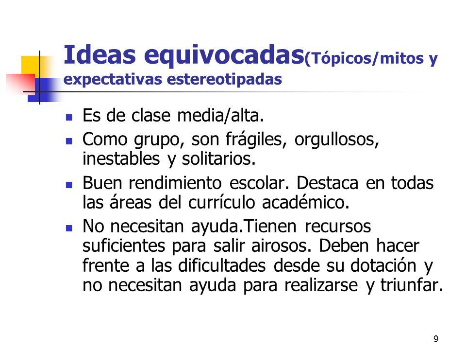 Ideas equivocadas(Tópicos/mitos y expectativas estereotipadas
