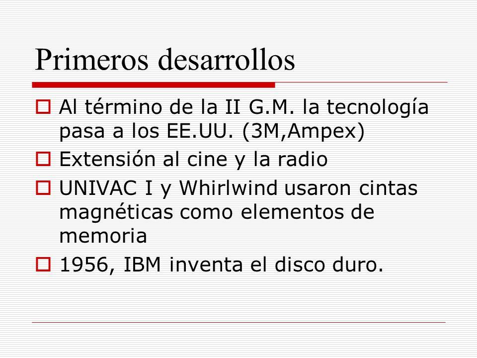 Primeros desarrollos Al término de la II G.M. la tecnología pasa a los EE.UU. (3M,Ampex) Extensión al cine y la radio.