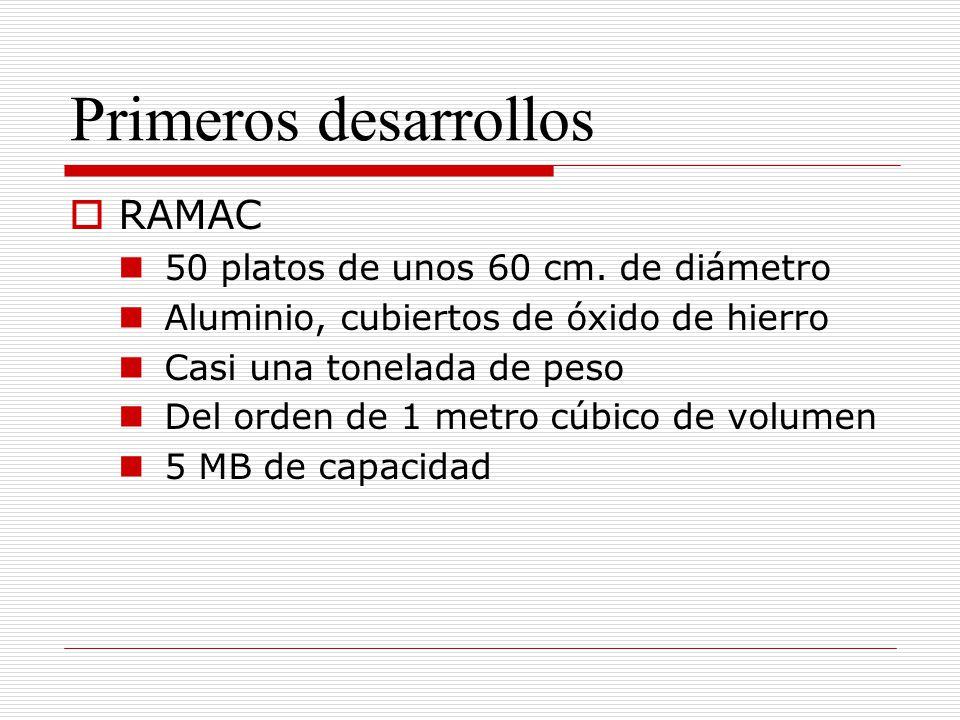 Primeros desarrollos RAMAC 50 platos de unos 60 cm. de diámetro