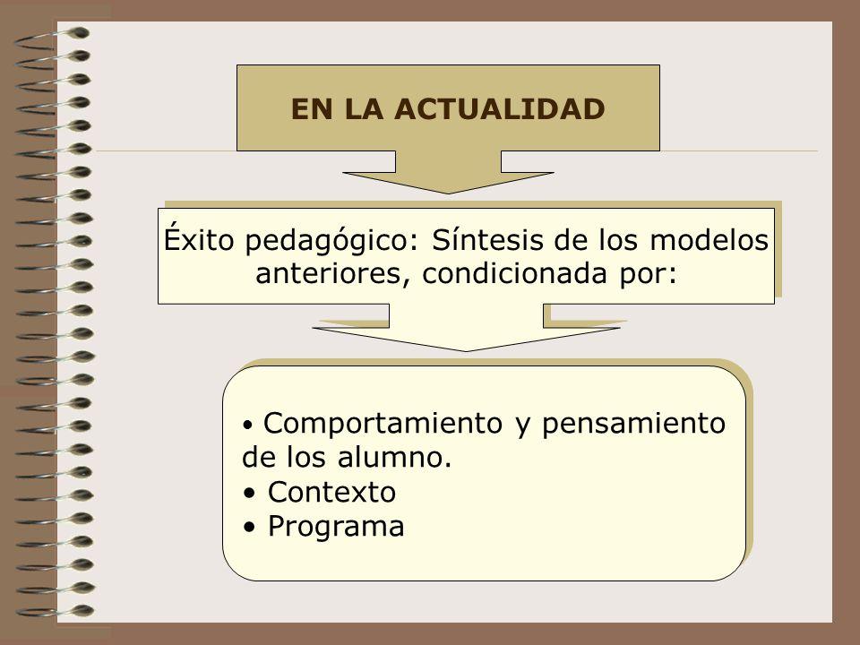Éxito pedagógico: Síntesis de los modelos