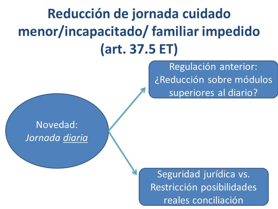 Reducción de jornada cuidado menor/incapacitado/ familiar impedido (art. 37.5 ET)