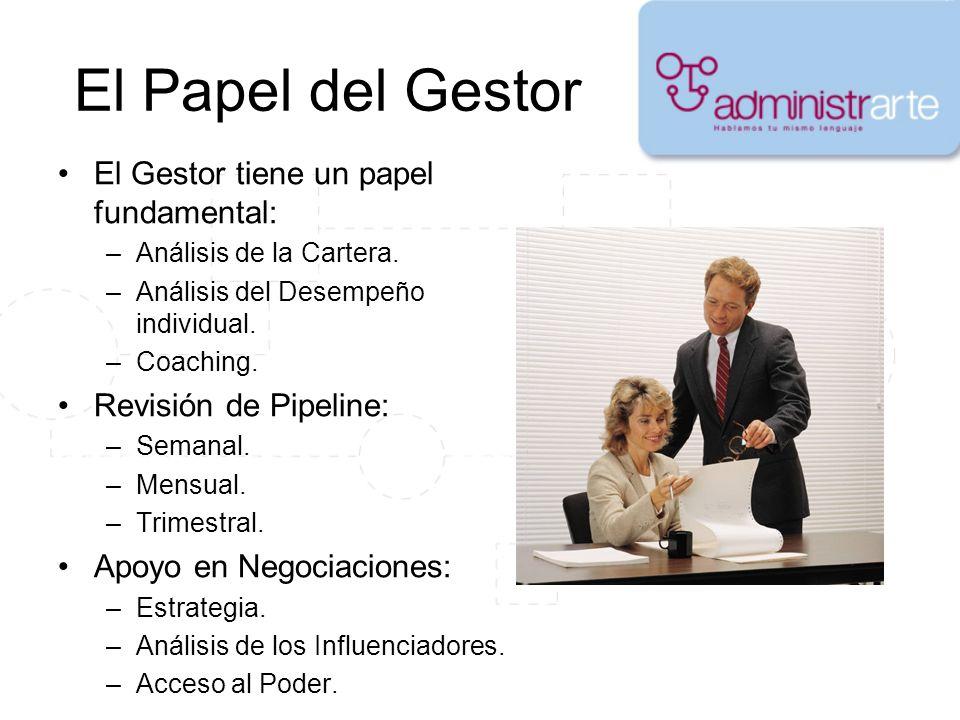 El Papel del Gestor El Gestor tiene un papel fundamental: