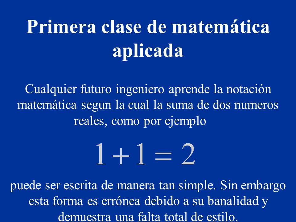 Primera clase de matemática aplicada