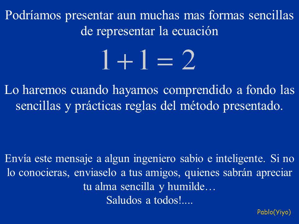 Podríamos presentar aun muchas mas formas sencillas de representar la ecuación