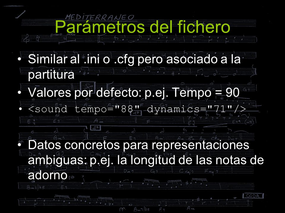 Parámetros del fichero
