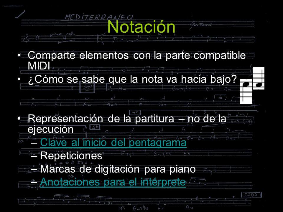 Notación Comparte elementos con la parte compatible MIDI