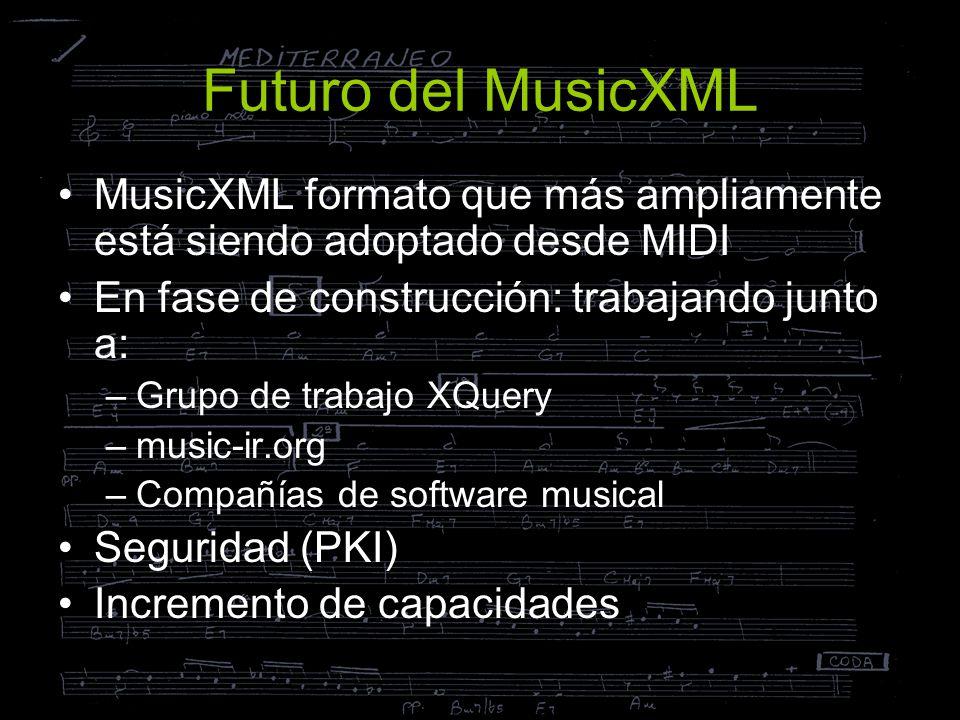Futuro del MusicXML MusicXML formato que más ampliamente está siendo adoptado desde MIDI. En fase de construcción: trabajando junto a: