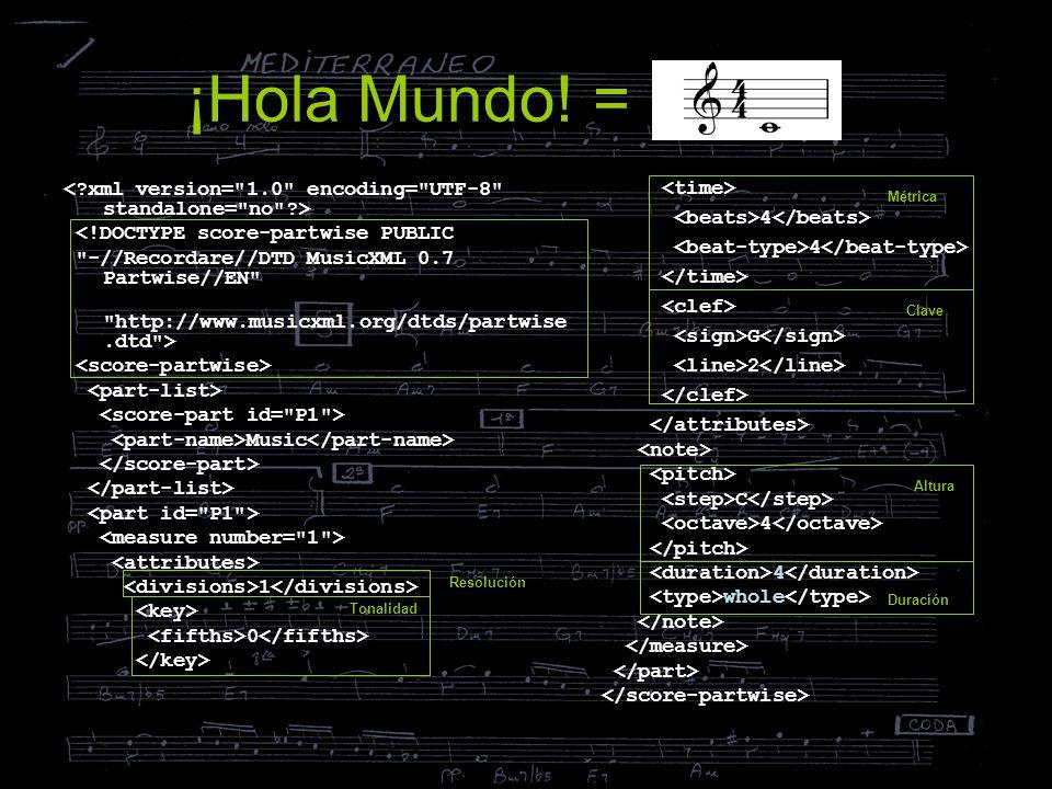 ¡Hola Mundo! = < xml version= 1.0 encoding= UTF-8 standalone= no > <!DOCTYPE score-partwise PUBLIC.