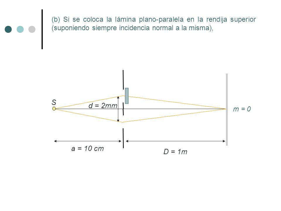 (b) Si se coloca la lámina plano-paralela en la rendija superior (suponiendo siempre incidencia normal a la misma),
