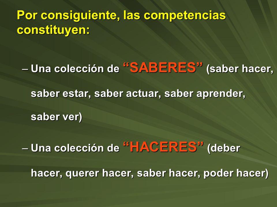Por consiguiente, las competencias constituyen: