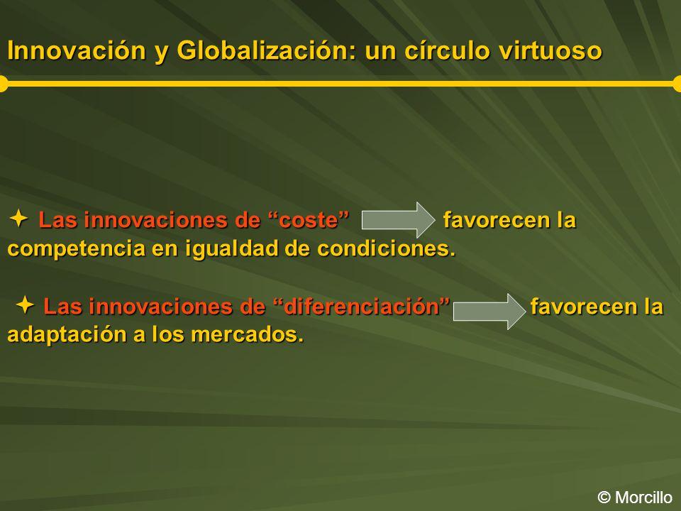 Innovación y Globalización: un círculo virtuoso  Las innovaciones de coste favorecen la competencia en igualdad de condiciones.  Las innovaciones de diferenciación favorecen la adaptación a los mercados.