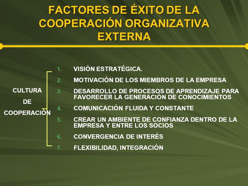 FACTORES DE ÉXITO DE LA COOPERACIÓN ORGANIZATIVA EXTERNA