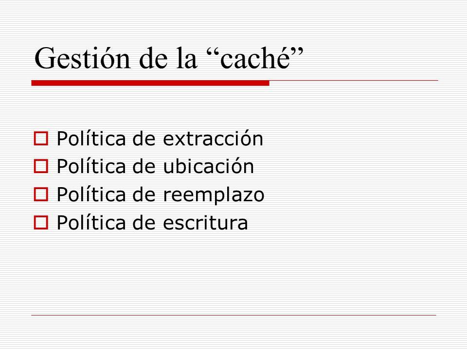 Gestión de la caché Política de extracción Política de ubicación