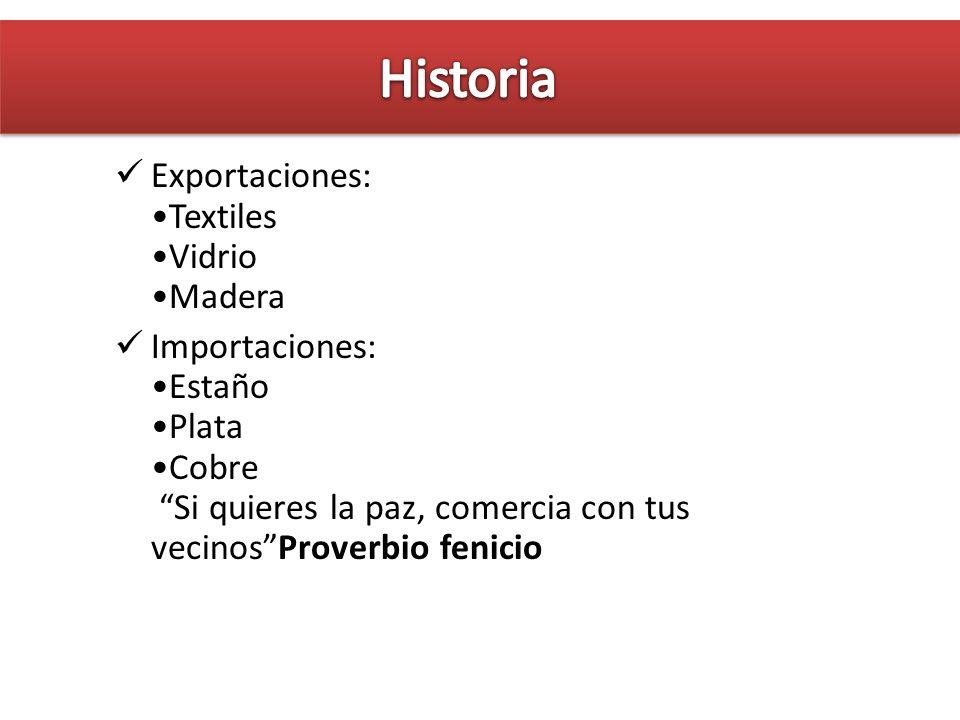 Historia Exportaciones: •Textiles •Vidrio •Madera