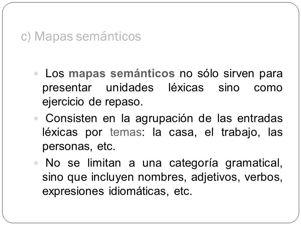 c) Mapas semánticos Los mapas semánticos no sólo sirven para presentar unidades léxicas sino como ejercicio de repaso.