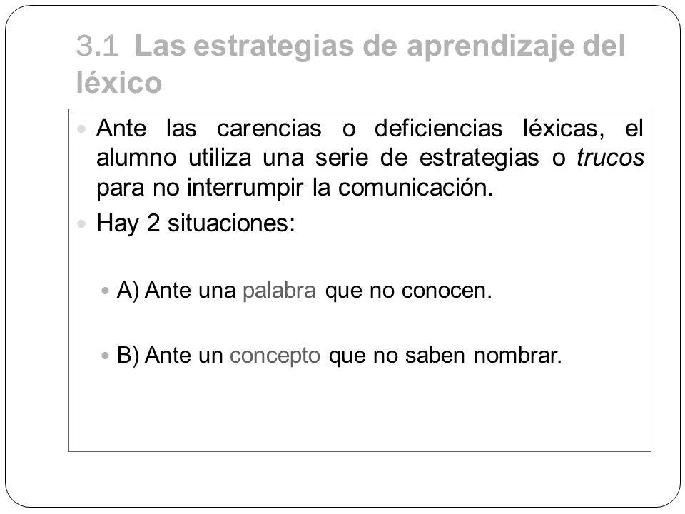 3.1 Las estrategias de aprendizaje del léxico