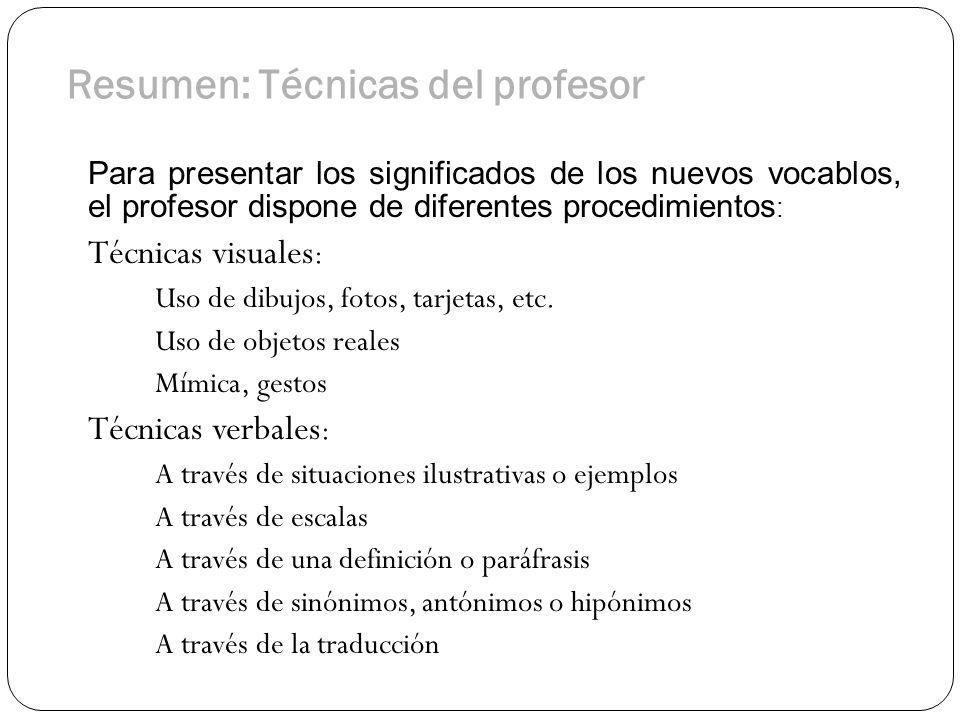Resumen: Técnicas del profesor