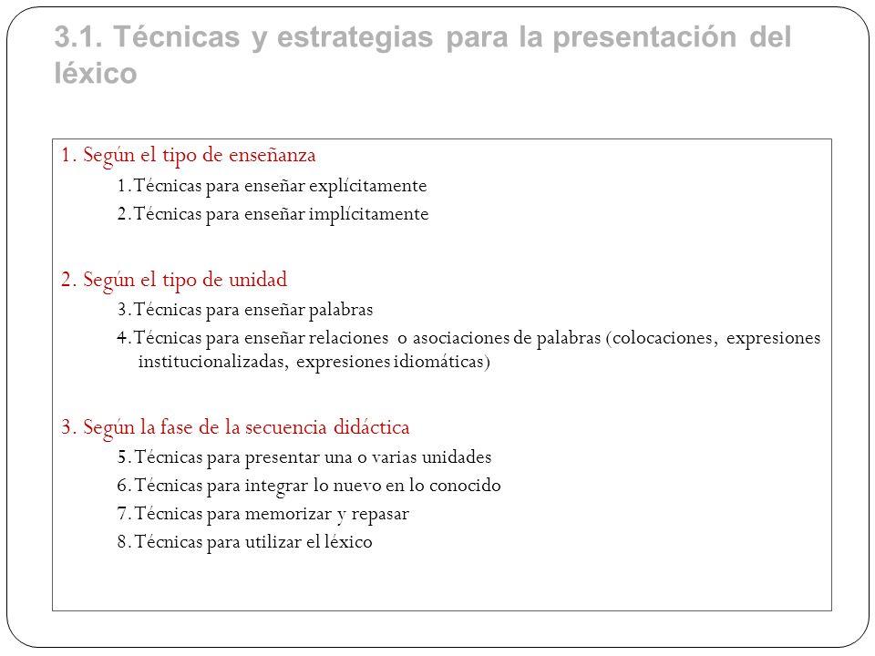 3.1. Técnicas y estrategias para la presentación del léxico