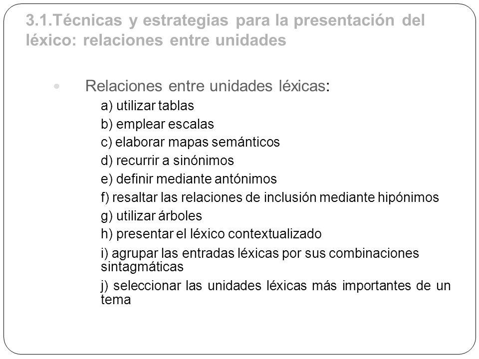 3.1.Técnicas y estrategias para la presentación del léxico: relaciones entre unidades