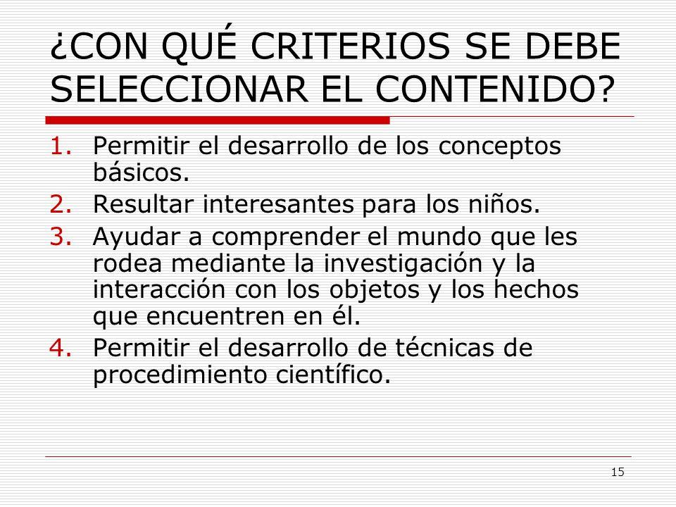¿CON QUÉ CRITERIOS SE DEBE SELECCIONAR EL CONTENIDO