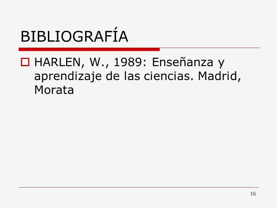 BIBLIOGRAFÍA HARLEN, W., 1989: Enseñanza y aprendizaje de las ciencias. Madrid, Morata