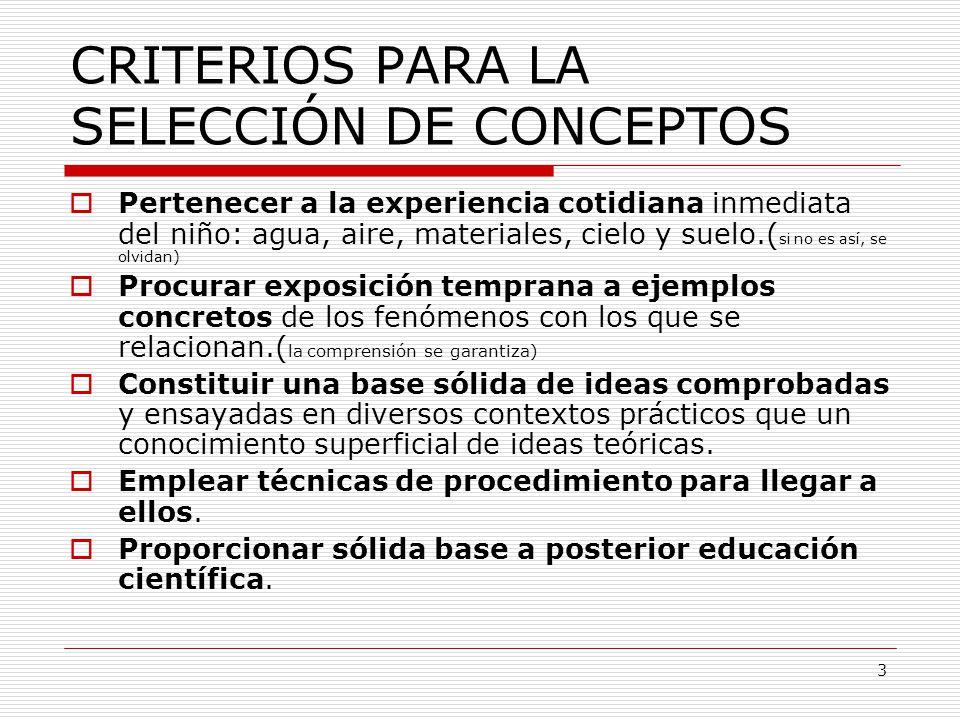 CRITERIOS PARA LA SELECCIÓN DE CONCEPTOS