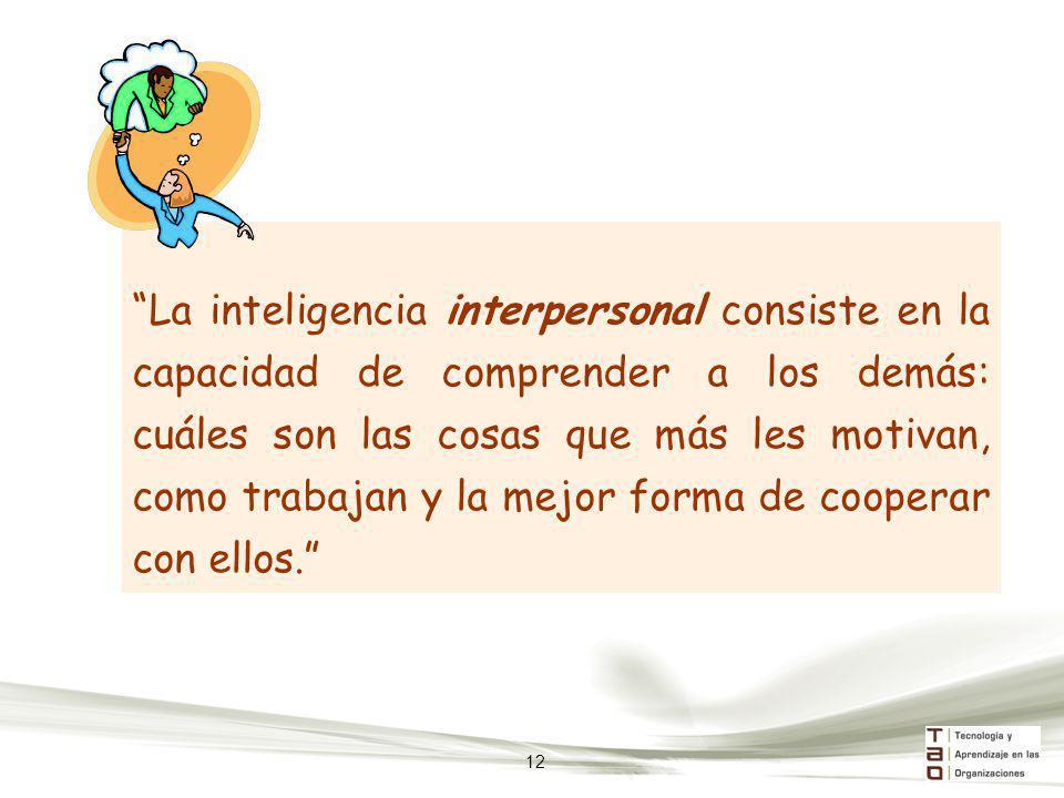 La inteligencia interpersonal consiste en la capacidad de comprender a los demás: cuáles son las cosas que más les motivan, como trabajan y la mejor forma de cooperar con ellos.