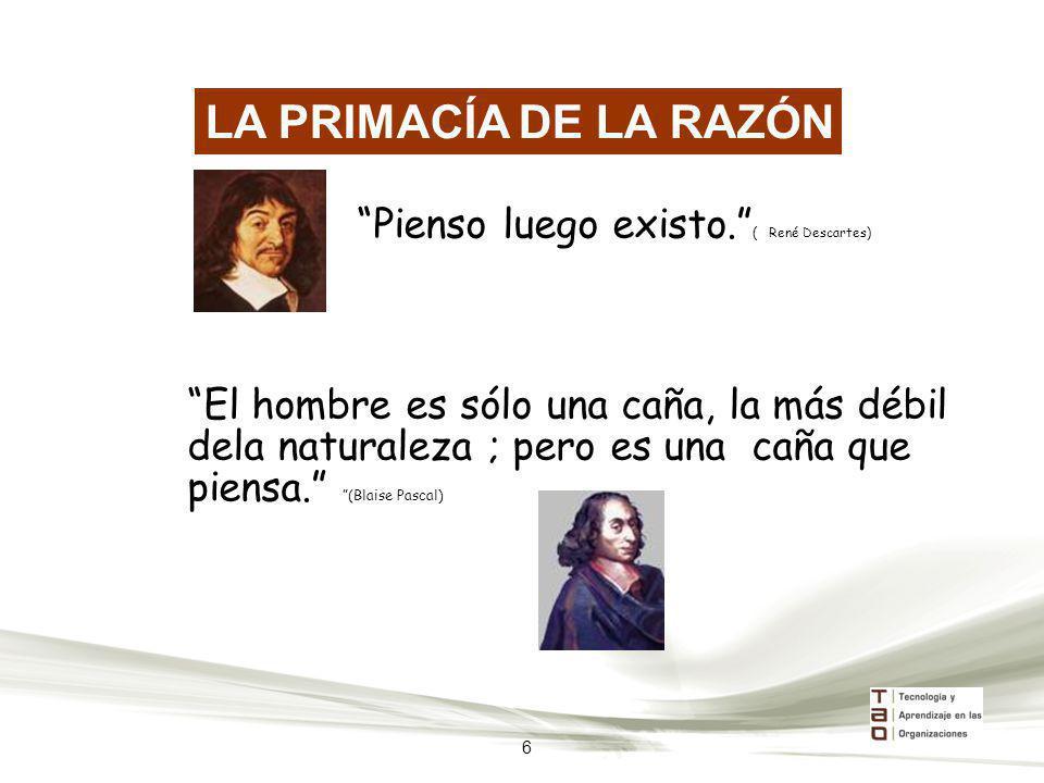 LA PRIMACÍA DE LA RAZÓN Pienso luego existo. ( René Descartes)